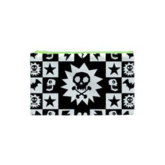 Goth Punk Skull Checkers Cosmetic Bag (XS) by ArtistRoseanneJones