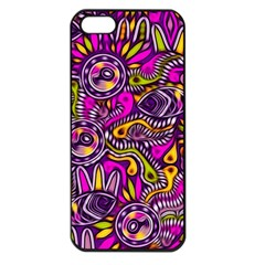 Purple Tribal Abstract Fish Apple Iphone 5 Seamless Case (black) by KirstenStar
