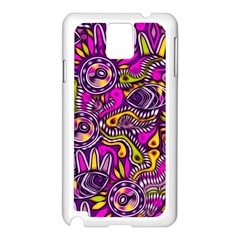 Purple Tribal Abstract Fish Samsung Galaxy Note 3 N9005 Case (white) by KirstenStar