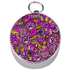 Purple Tribal Abstract Fish Silver Compass by KirstenStar