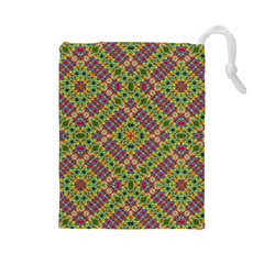 Multicolor Geometric Ethnic Seamless Pattern Drawstring Pouch (Large) by dflcprints