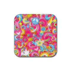 Hippy Peace Swirls Drink Coaster (Square) by KirstenStar