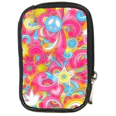 Hippy Peace Swirls Compact Camera Leather Case by KirstenStar