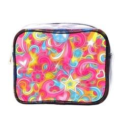 Hippy Peace Swirls Mini Travel Toiletry Bag (one Side) by KirstenStar