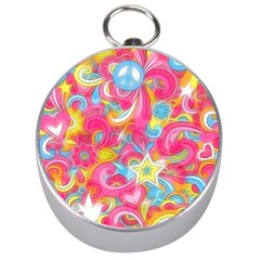 Hippy Peace Swirls Silver Compass by KirstenStar