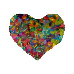 Colorful Autumn Standard 16  Premium Flano Heart Shape Cushion