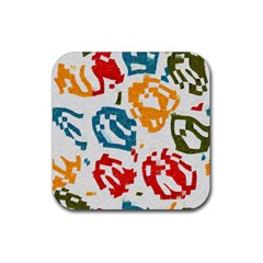 Colorful Paint Stokes Rubber Square Coaster (4 Pack) by LalyLauraFLM