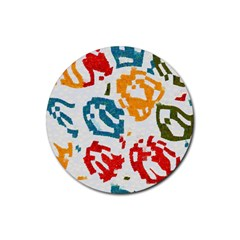 Colorful Paint Stokes Rubber Round Coaster (4 Pack) by LalyLauraFLM