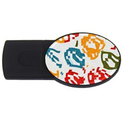 Colorful Paint Stokes Usb Flash Drive Oval (4 Gb) by LalyLauraFLM
