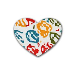 Colorful Paint Stokes Rubber Coaster (heart) by LalyLauraFLM