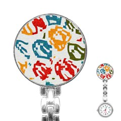 Colorful paint stokes Stainless Steel Nurses Watch by LalyLauraFLM