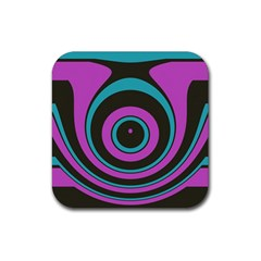 Distorted concentric circles Rubber Square Coaster (4 pack) by LalyLauraFLM