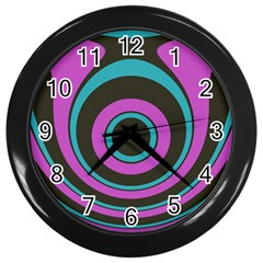 Distorted Concentric Circles Wall Clock (black) by LalyLauraFLM