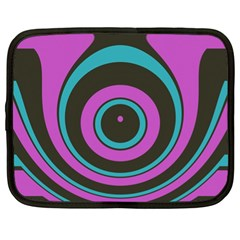 Distorted Concentric Circles Netbook Case (xl) by LalyLauraFLM