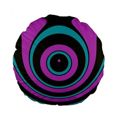 Distorted Concentric Circles Standard 15  Premium Round Cushion  by LalyLauraFLM