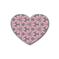 Pink Flowers Pattern Heart Coaster (4 Pack) by LalyLauraFLM