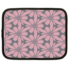 Pink Flowers Pattern Netbook Case (large) by LalyLauraFLM