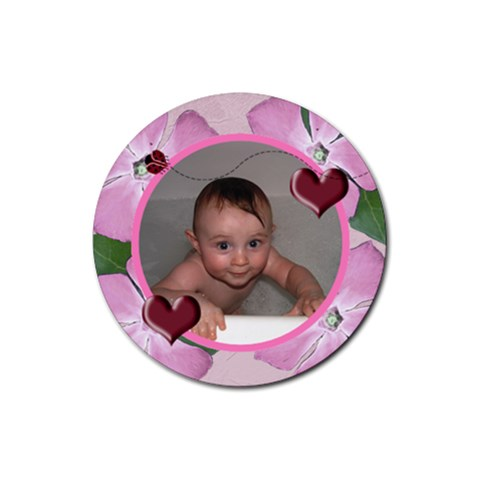 Ladybug Heart Round Rubber Coaster By Chere s Creations   Rubber Coaster (round)   Q3syizyyac8v   Www Artscow Com Front