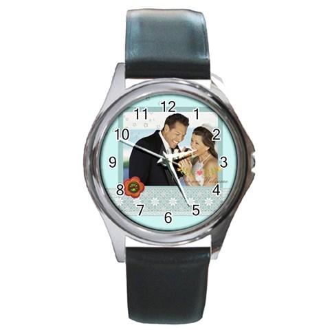 Wedding By Wedding   Round Metal Watch   33jk52kj0hht   Www Artscow Com Front
