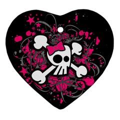 Girly Skull And Crossbones Heart Ornament by ArtistRoseanneJones