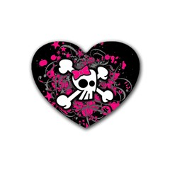 Girly Skull And Crossbones Drink Coasters (heart) by ArtistRoseanneJones