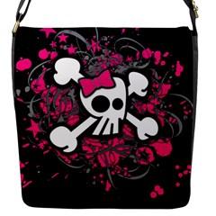 Girly Skull And Crossbones Flap Closure Messenger Bag (small) by ArtistRoseanneJones