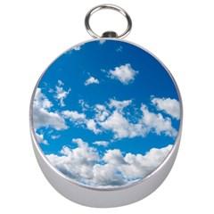 Bright Blue Sky Silver Compass by ansteybeta