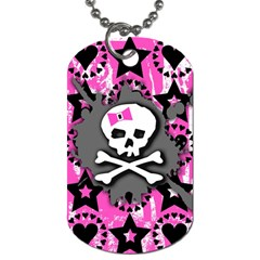 Pink Bow Skull Dog Tag (one Sided) by ArtistRoseanneJones