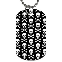 Skull And Crossbones Pattern Dog Tag (two Sided)  by ArtistRoseanneJones