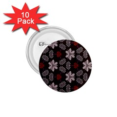 Floral Pattern On A Brown Background 1 75  Button (10 Pack)