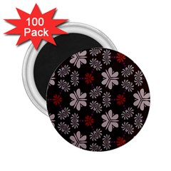Floral Pattern On A Brown Background 2 25  Magnet (100 Pack)  by LalyLauraFLM