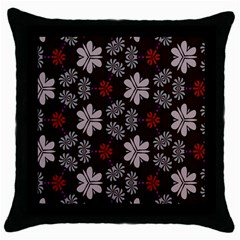 Floral Pattern On A Brown Background Throw Pillow Case (black) by LalyLauraFLM