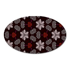 Floral Pattern On A Brown Background Magnet (oval) by LalyLauraFLM