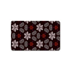 Floral pattern on a brown background Magnet (Name Card) by LalyLauraFLM