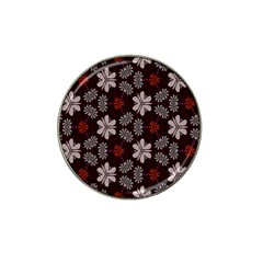 Floral Pattern On A Brown Background Hat Clip Ball Marker (4 Pack) by LalyLauraFLM