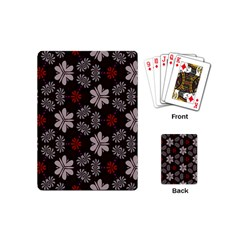 Floral Pattern On A Brown Background Playing Cards (mini) by LalyLauraFLM