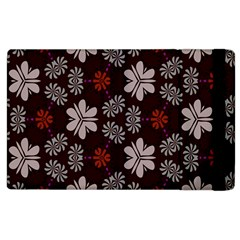 Floral Pattern On A Brown Background Apple Ipad 2 Flip Case by LalyLauraFLM