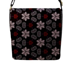 Floral Pattern On A Brown Background Flap Closure Messenger Bag (l) by LalyLauraFLM