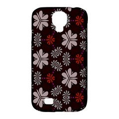 Floral Pattern On A Brown Background Samsung Galaxy S4 Classic Hardshell Case (pc+silicone) by LalyLauraFLM