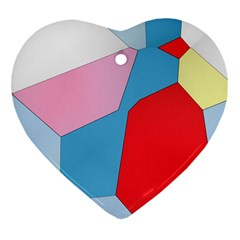Colorful Pastel Shapes Heart Ornament (two Sides) by LalyLauraFLM
