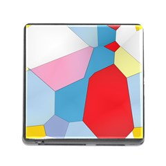 Colorful Pastel Shapes Memory Card Reader (square) by LalyLauraFLM