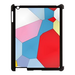 Colorful pastel shapes Apple iPad 3/4 Case (Black) by LalyLauraFLM