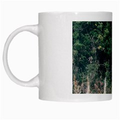 Grass And Trees Nature Pattern White Coffee Mug by ansteybeta
