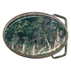 Grass And Trees Nature Pattern Belt Buckle (oval) by ansteybeta