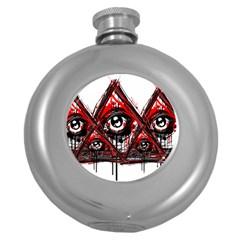 Red White pyramids Hip Flask (Round) by teeship
