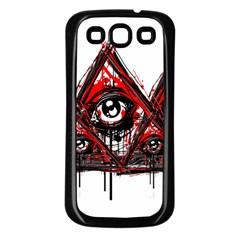 Red White Pyramids Samsung Galaxy S3 Back Case (black) by teeship