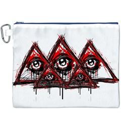 Red White pyramids Canvas Cosmetic Bag (XXXL) by teeship