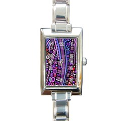 Stained Glass Tribal Pattern Rectangular Italian Charm Watch by KirstenStar
