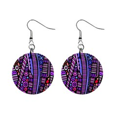 Stained Glass Tribal Pattern Mini Button Earrings by KirstenStar