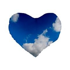 Bright Blue Sky 2 Standard 16  Premium Heart Shape Cushion  by ansteybeta